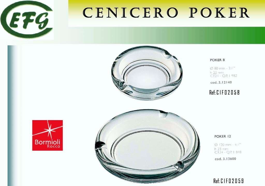 CENICERO POCKER 12