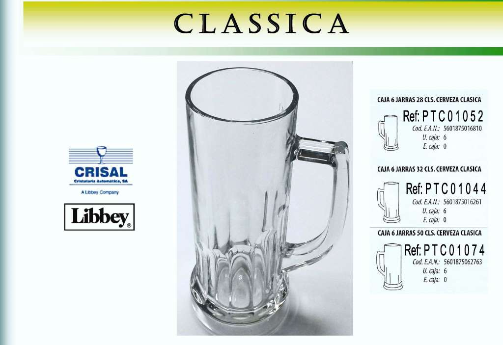 CLASSIC 500 CC. CERVEZA JARRA CRISAL