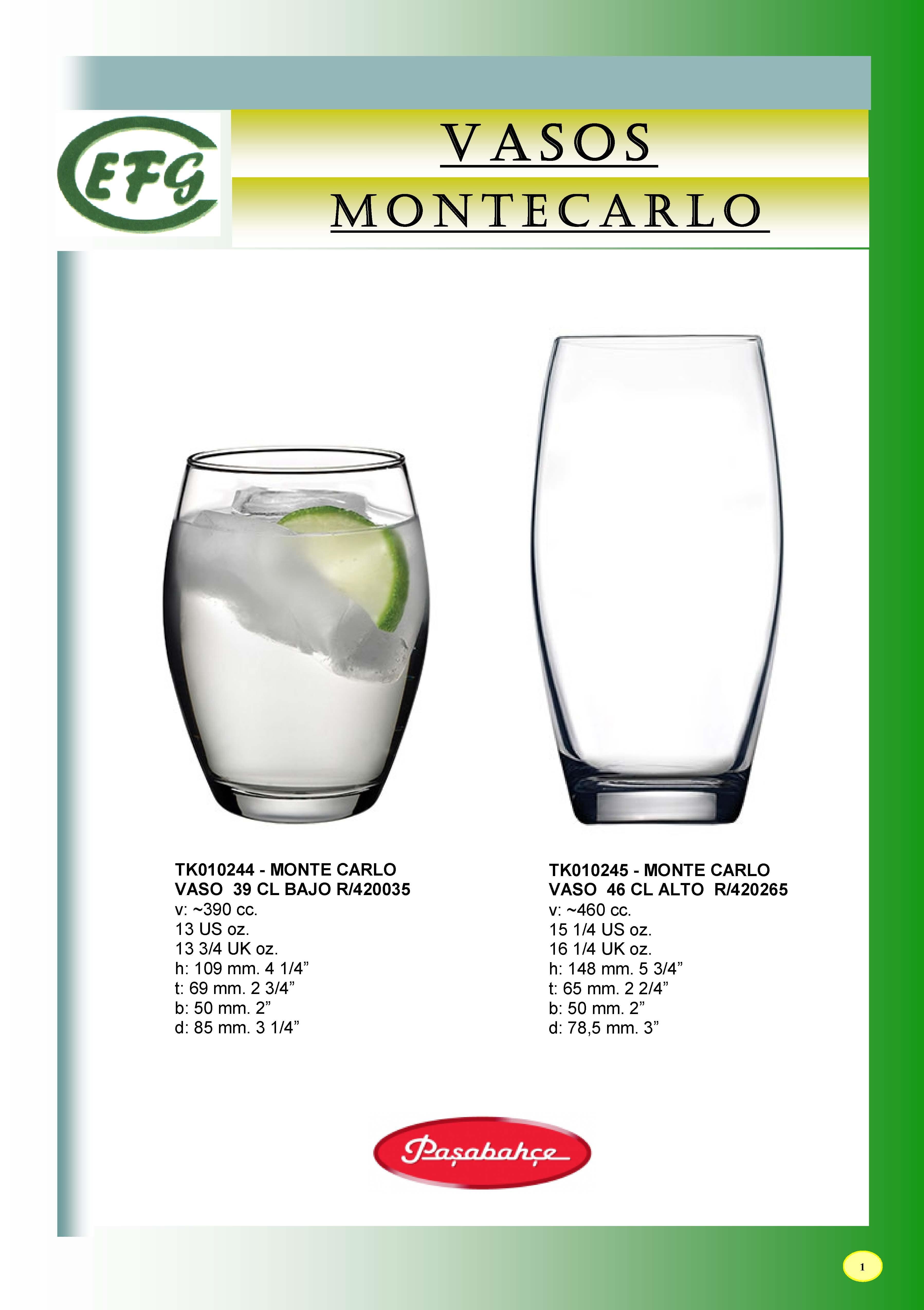 MONTE CARLO VASO 39 CL BAJO R/420035